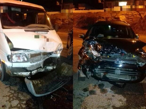 Carro colidiu transversalmente com uma van após tentar cruzar a rodovia em Bezerros (Foto: Divulgação/Polícia Rodoviária Federal)