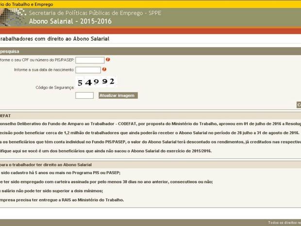 Página do Ministério do Trabalho para consulta se benefício está disponível (Foto: Reprodução/Ministério do Trabalho)
