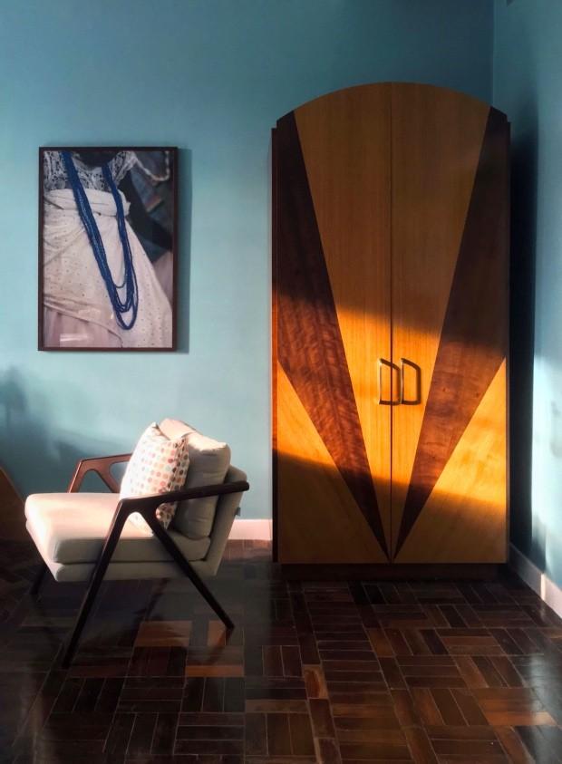 Décor do dia: quarto azul com inspiração art déco (Foto: Michell Lott)