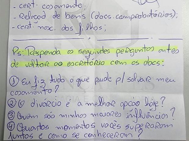 Bilhete advogado Rafael Gonçalves, São Sebastião do Paraíso (Foto: Reprodução Facebook)