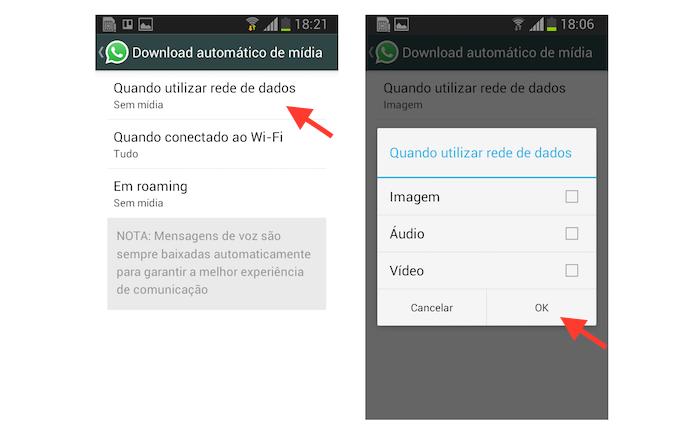 Desativando o download automático de mídia na rede de dados no WhatsApp para Android (Foto: Reprodução/Marvin Costa)