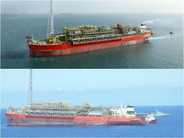 Na imagem é possível observar antes (acima) e depois (abaixo) do navio-plataforma FPSO Cidade São Mateus (Foto: Divulgação BW Offshore/ Divulgação Marinha do Brasil)