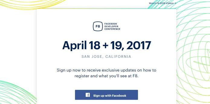O Facebook F8 de 2017 acontecerá em abril (Foto: Reprodução/Site F8)