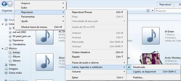 Acesse as configurações de legenda do Windows Media Player (Foto: Reprodução/Paulo Alves)