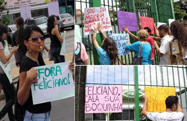 Protesto contra o deputado e pastor Marco Feliciano (PSC), em Goiânia, Goiás (Foto: Adriano Zago/G1)