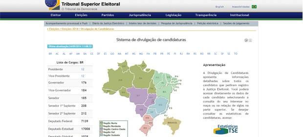 A ferramenta do TSE permite pesquisar informações disponibilizadas pelos candidatos e partidos (Foto: Reprodução)