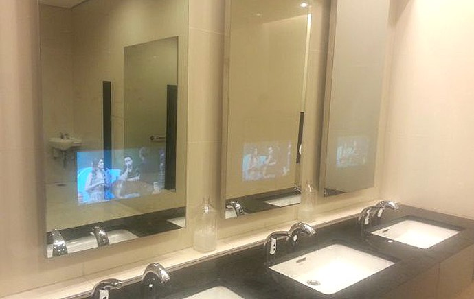 Tela banheiro arena corinthians (Foto: diego ri)