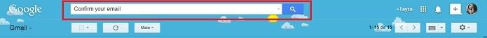 Digite na busca Confirm your email com e sem aspas (Reprodução/Taysa Coelho)
