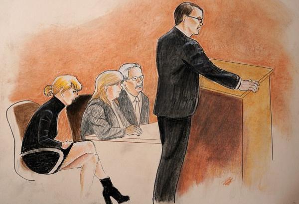 Uma reconstituição ilustrada do julgamento do homem acusado de assediar Taylor Swift  (Foto: Divulgação)