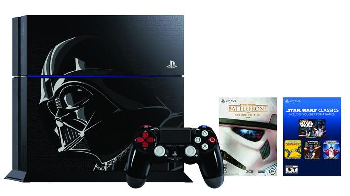PlayStation 4 em sua edição especial de Darth Vader com jogos clássicos de Star Wars (Foto: Divulgação)