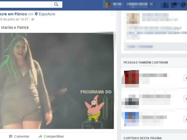 Post compara corpo de cantora com o de personagem gordo de desenho animado (Foto: Reprodução/Facebook)