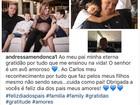 Andressa agradece Cachoeira por cuidado com filhos em post na web