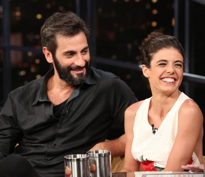 Flávio Tolezani e Natalia Gonsales no 'Programa do Jô' (Foto: Carol Caminha/Gshow)