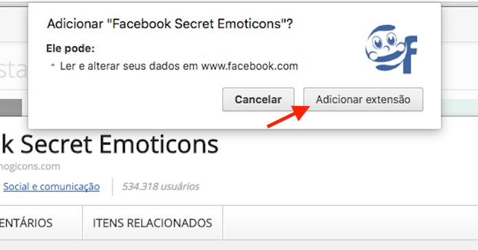 Adicionando a extensão Facebook Secret Emoticons ao Google Chrome (Foto: Reprodução/Marvin Costa)