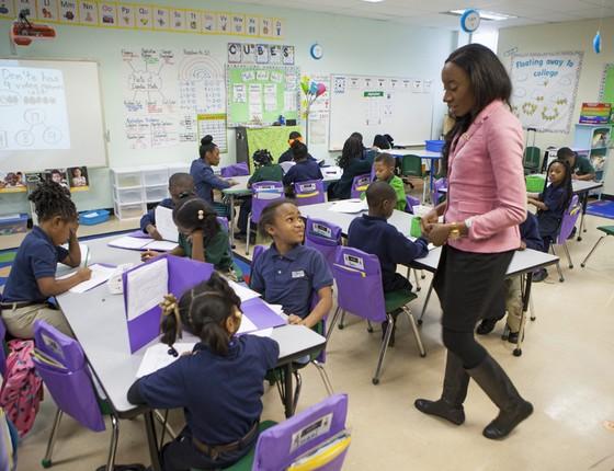 Sala de aula numa escola charter,em Nova Orleans,nos Estados Unido  (Foto:  Melanie Stetson Freeman/The Christian Science Monitor via Getty Images)