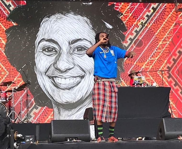 Rincon Sapincia homenageou a vereadora Marielle Franco (Foto: Divulgao/Multishow)