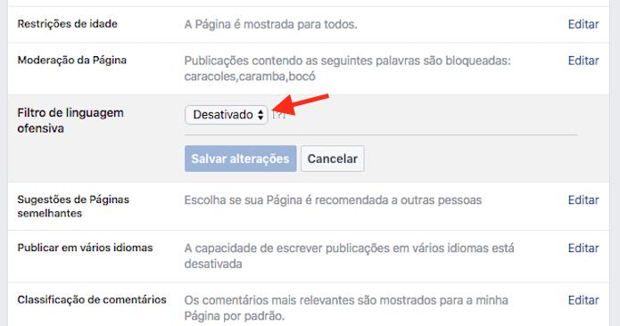 Acesso as opções do filtro de linguagem ofensiva de uma página do Facebook (Foto: Reprodução/Marvin Costa)