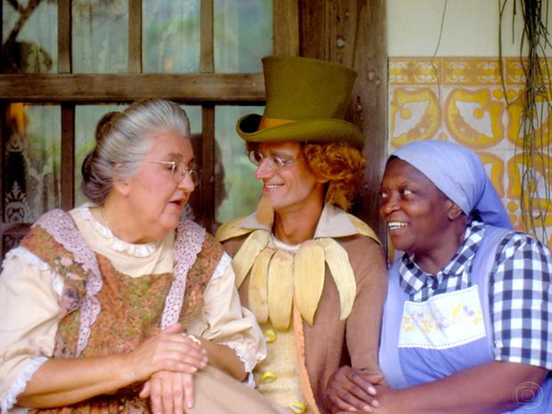 Dona Benta (Zilka Sallaberry), Visconde (André Valli) e Tia Nastácia (Jacyra Sampaio) em Sítio do Pica-Pau Amarelo