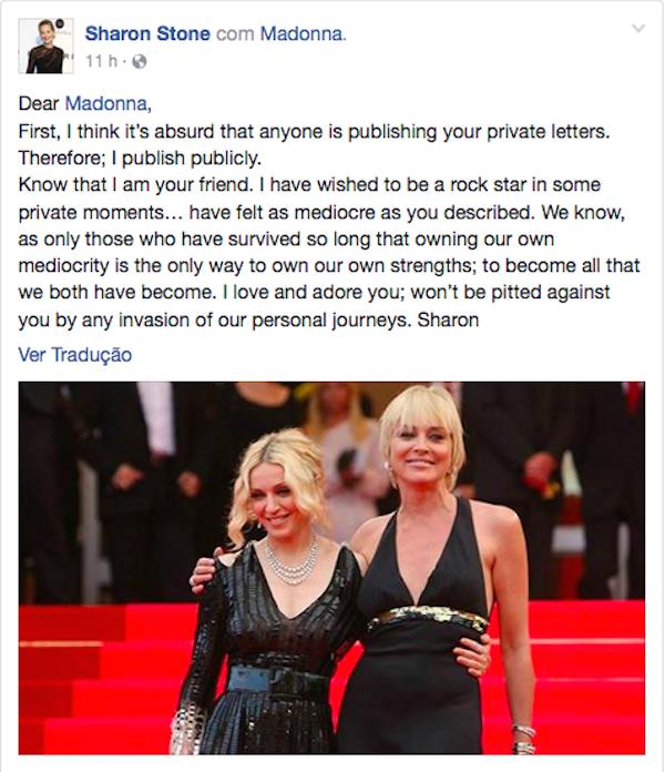 A mensagem compartilhada por Sharon Stone  (Foto: Facebook)