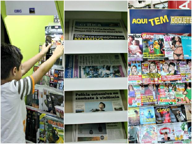 Segundo proprietária de banca, revistas de fofoca, infantis e jornais ainda tem grande público (Foto: Tiago Melo/G1 AM)