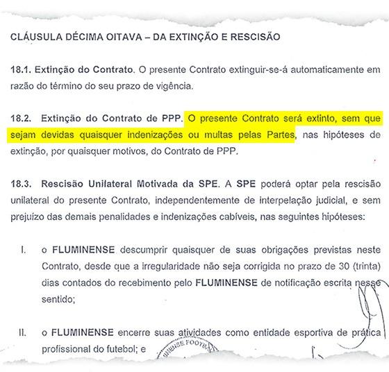 Trecho de contrato entre Fluminense e Maracanã (Foto: Reprodução)