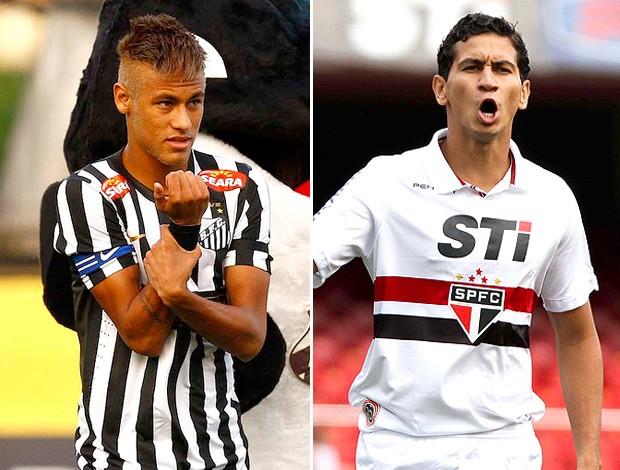 montagem Neymar e Ganso jogo Santos x São Paulo (Foto: Editoria de Arte / Globoesporte.com)