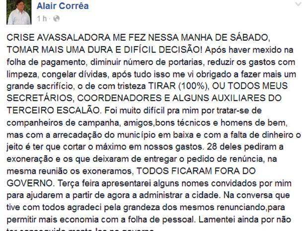 Postagem anunciou a exoneração dos secretários e coordenadores, além de outros servidores (Foto: Reprodução/ Facebook)