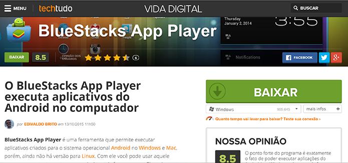 BlueStacks 2 foi lançado com multitarefas e ações rápidas para aplicativos Android no Windows (Foto: Reprodução/Elson de Souza)