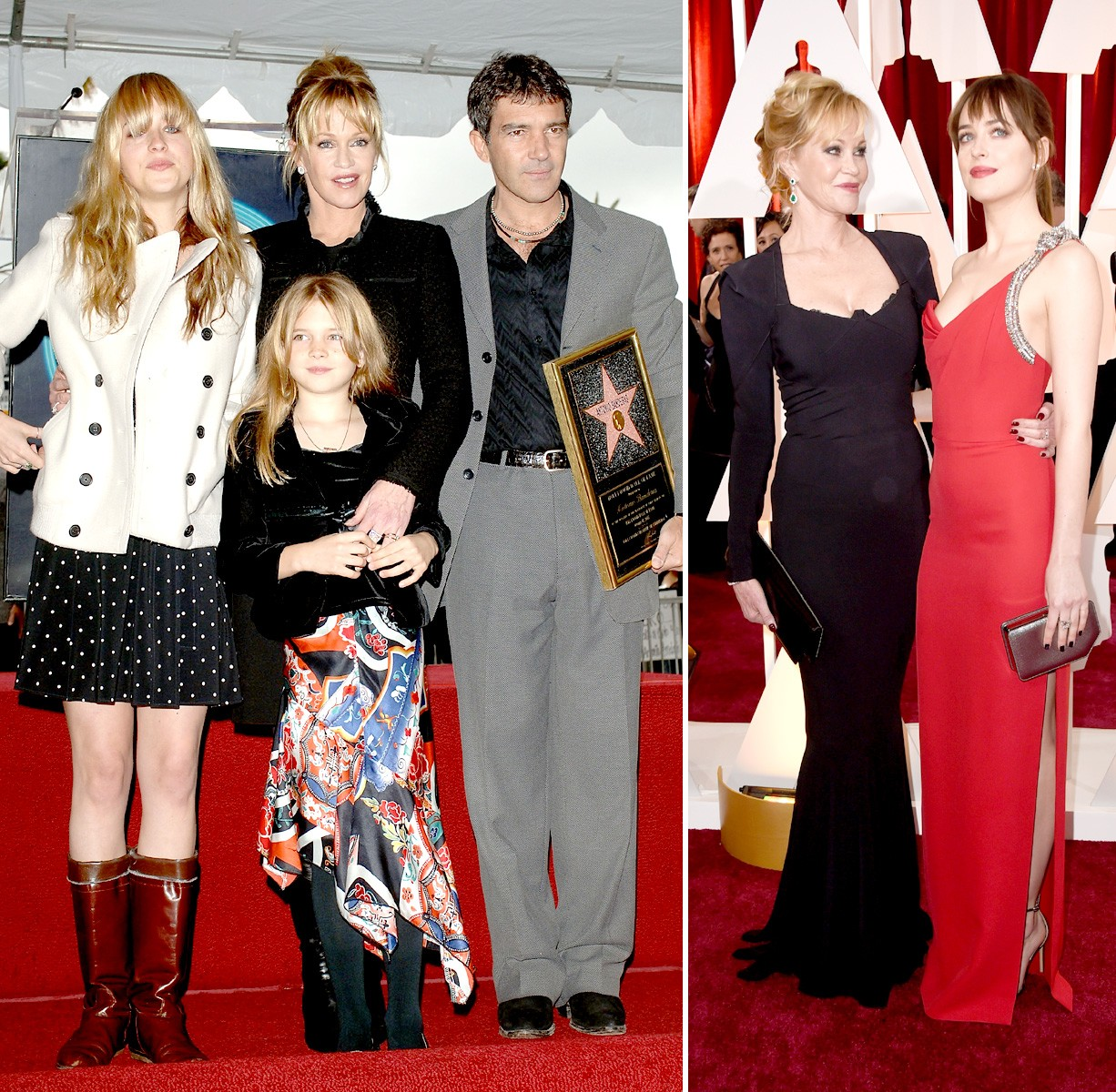 Em família: com os pais famosos no começo da carreira e com a mãe no tapete vermelho do Oscar (Foto: Getty Images)