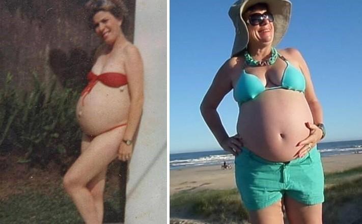 Nivalda grávida de Gleyce em 1938 e no fim de 2014, grávida do neto (Foto: Arquivo Pessoal)