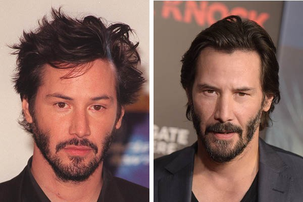 Keanu Reeves em 1999 e 2015 (Foto: Getty Images)