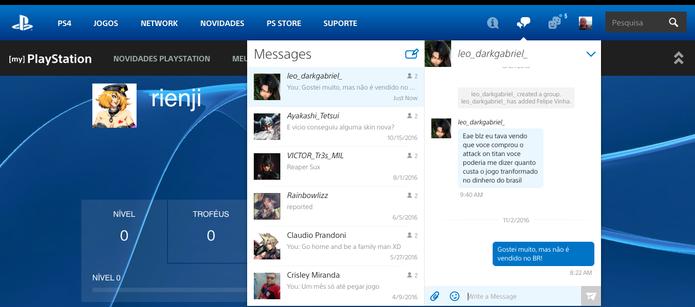 PlayStation lança perfil online para amigos do PS3 e PS4, saiba usar (Foto: Reprodução/Felipe Vinha)