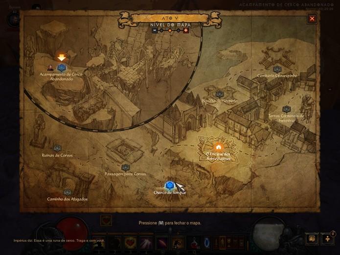A inovação dos mapas para viajar pelos Marcos de Senda é uma dos muitos detalhes que enriquecem a atualização feita por Diablo 3: Reaper of Souls (Foto: Reprodução/Danierl Ribeiro)