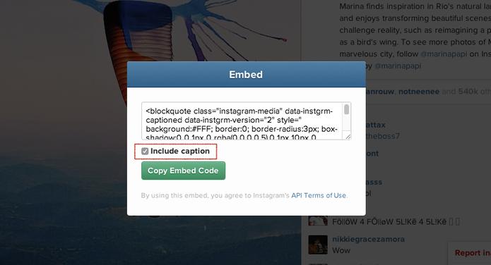 Novo código HTML de embed para fotos e vídeos do Instagram (Foto: Reprodução/Instagram)