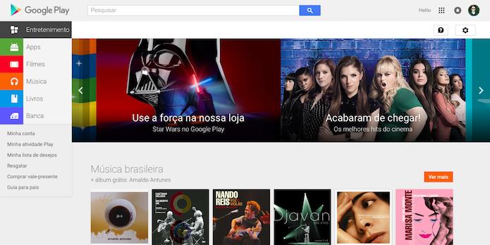Acesse o site do Google Play (Foto: Reprodução/Helito Bijora)