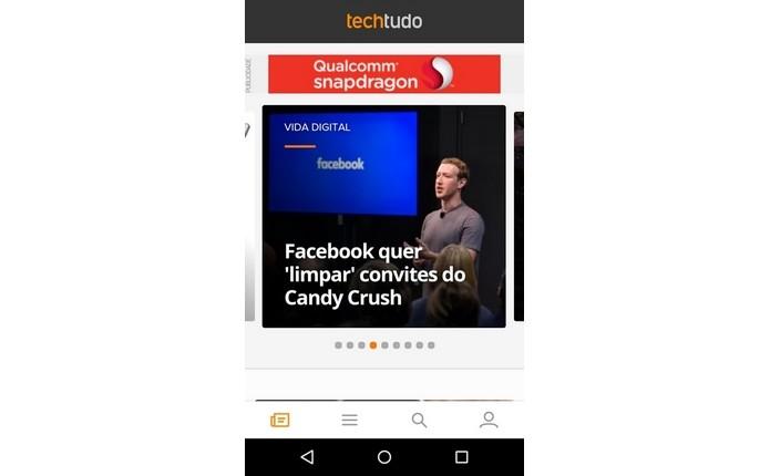Tela inicial do app oficial do TechTudo (Foto: Reprodução/Raquel Freire)