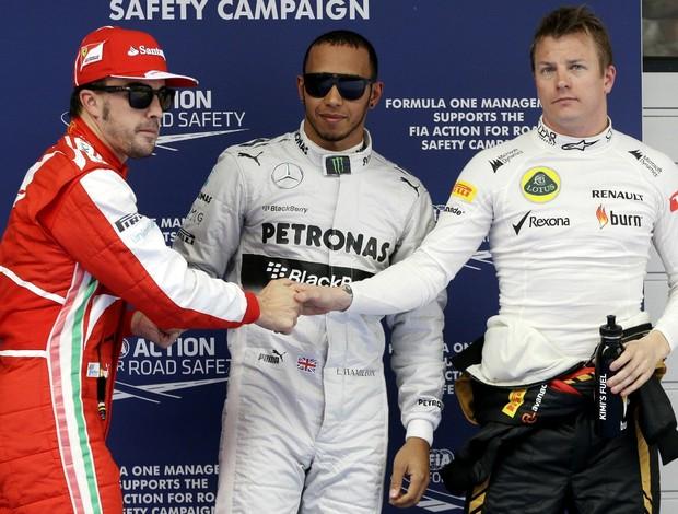 Fernando Alonso, Lewis Hamilton e Kimi Raikkonen após treino classificatório do GP da China (Foto: AP)
