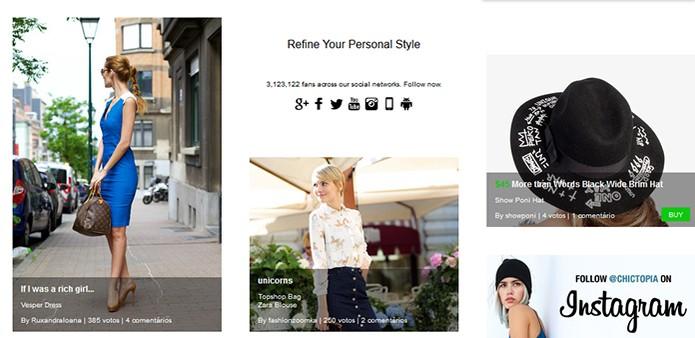 Exemplos de fotos com looks dos usuários no site Chictopia (Foto: Reprodução/Barbara Mannara)
