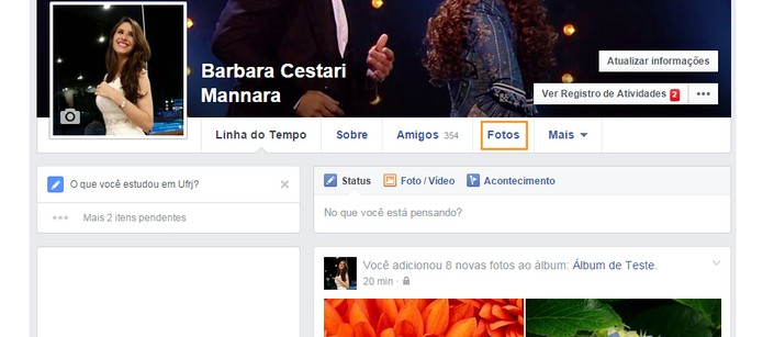 Acesse o Facebook e clique em Fotos (Foto: Reprodução/Barbara Mannara)