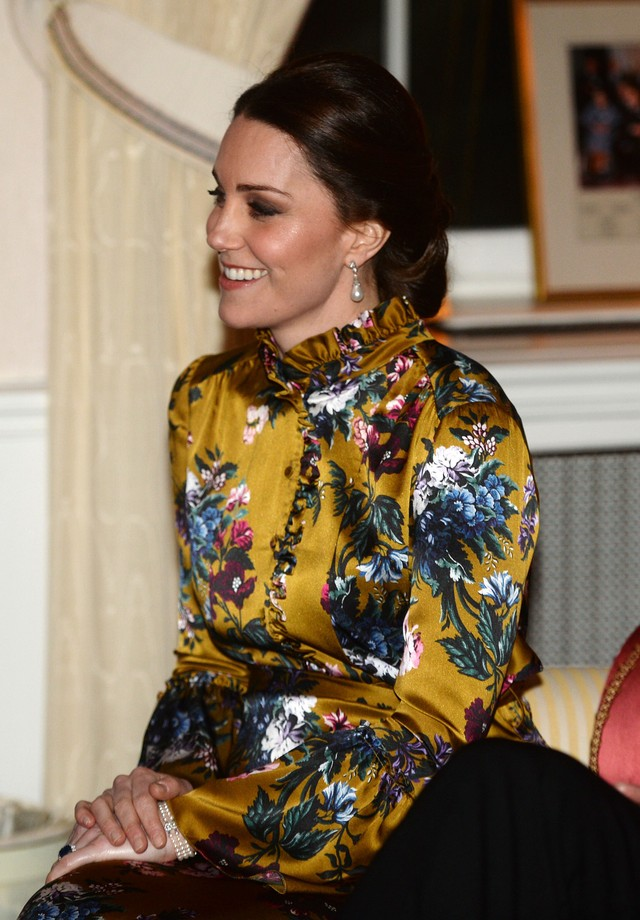 STOCKHOLM, SWEDEN - JANUARY 30:  Catherine, Duchess of Cambridge attends a reception dinner at the British Ambassador's residence during day one of her Royal visit to Sweden and Norway with Prince William, Duke of Cambridge on January 30, 2018 in Stockhol (Foto: Getty Images)