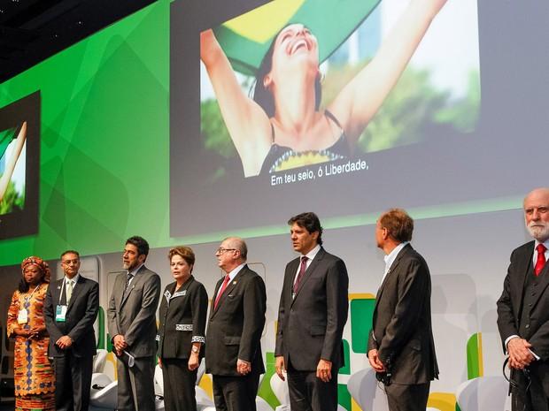 Presidenta Dilma Rousseff durante cerimônia de abertura do Encontro Global Multissetorial sobre o Futuro da Governança da Internet - NET Mundial (Foto: Roberto Stuckert Filho/PR)