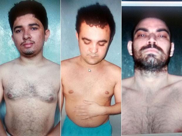 Marcos Paulo Nogueira, Cassio Augusto de Souza e Jorismar Gonçalves Suassuna fugiram da cadeia Pública de Caraúbas nesta quarta (9) (Foto: Divulgação/Sejuc)