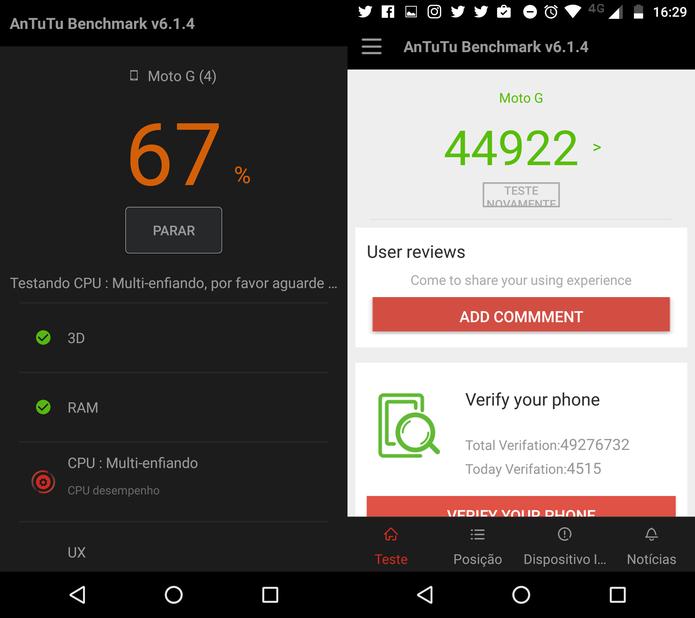 AnTuTu realiza testes de benchmark em um Moto G 4 Plus (Foto: Thássius Veloso/TechTudo)