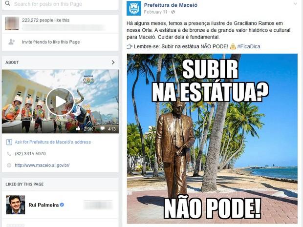 Estátua de Graciliano Ramos, na Pajuçara, também foi vítima de vandalismo. Prefeitura lançou campanha de conscientização. (Foto: Reprodução/ Facebook)
