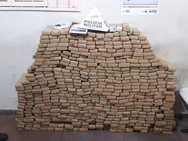 Droga apreendida em Uberlândia (Foto: Flávio Henrique/G1)