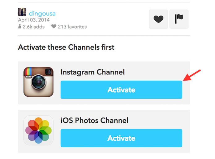 Iniciando sincronização a receita da IFTTT que fará fotos curtidas no Instagram serem salvas na biblioteca de fotos do iOS (Foto: Reprodução/Marvin Costa)