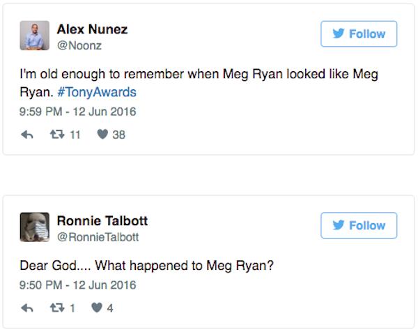 Publicações fazendo piada com Meg Ryan nas redes sociais (Foto: Twitter)