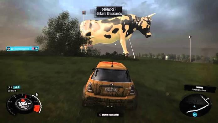 The Crew: há também uma vaca gigante escondida no cenário (Foto: Reprodução/YouTube)