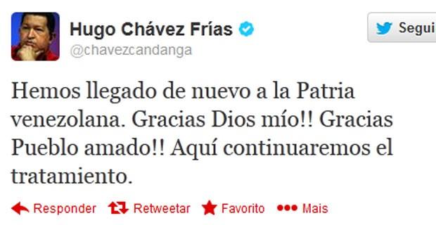 Hugo Chávez anunciou pelo Twitter sua volta à Venezuela  (Foto: Reprodução)