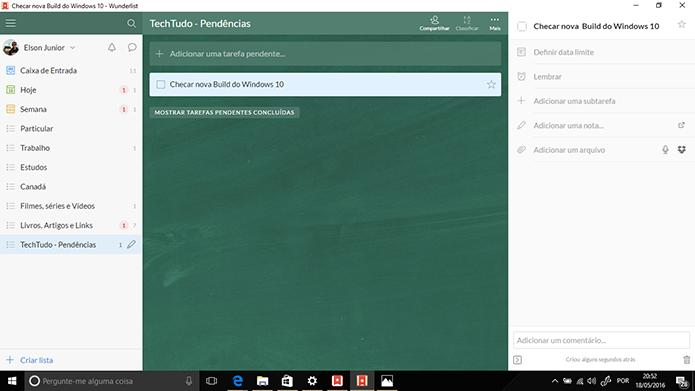 Usuários pode editar tarefas dentro de listas no Wunderlist (Foto: Reprodução/Elson de Souza)